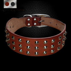 Leather Dog Collar with Spikes For Small, Medium & Large Dogs Such as Bull Dogs, Etc.