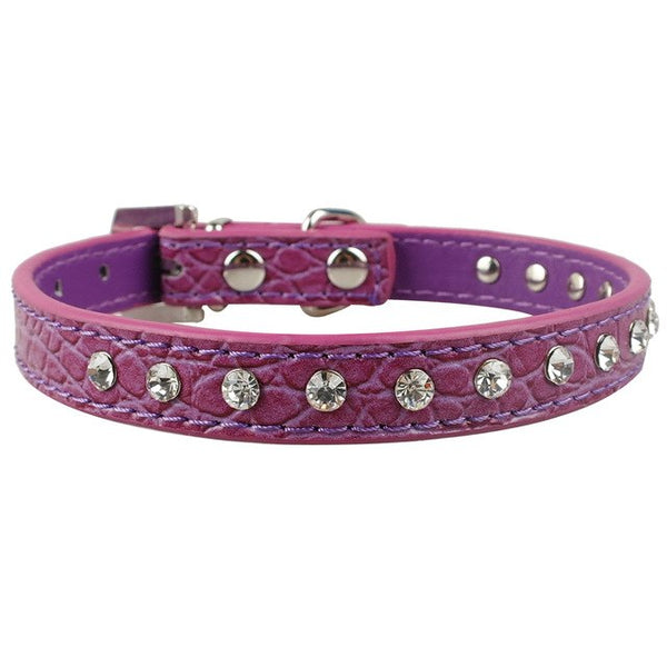 Fashion Leather Dog Collar with Crystal Rhinestones For Small & Medium Dogs