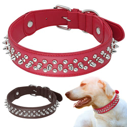 Genuine Leather Spiked Collar, Adjustable for Medium & Large Dogs