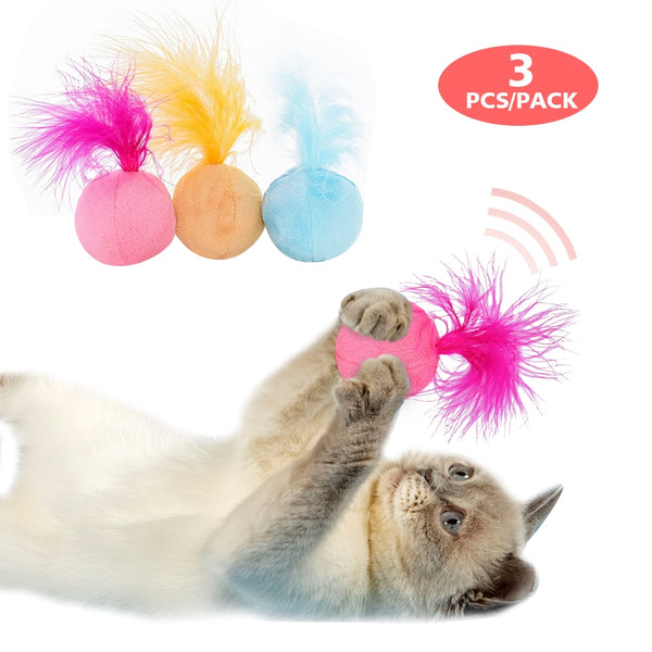 A Cat Toy - a Fur Ball that Makes Sounds, Cute and Fun