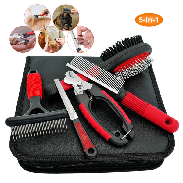 A Quality Stainless Steel Pet Grooming Set Including Brush, Scissors, Nail Clippers, Comb and More