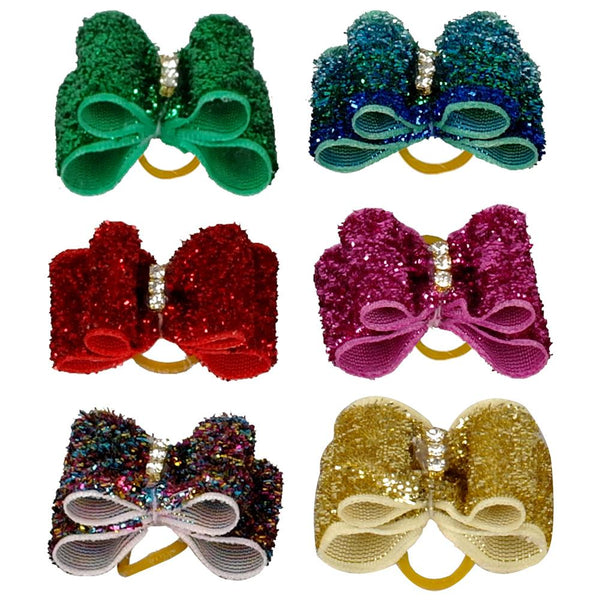 20/50/100 pcs of Glittering, Pet Hair Bows for Dogs & Cats