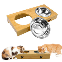 2 Stainless Steel Pet Food Bowls Inside a Wooden Table for Small & Medium Dogs & Cats