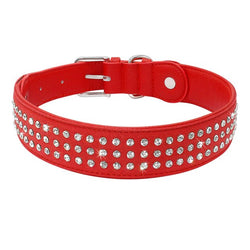 Leather Dog Collar with Rhinestone Crystals for Medium & Large Dogs