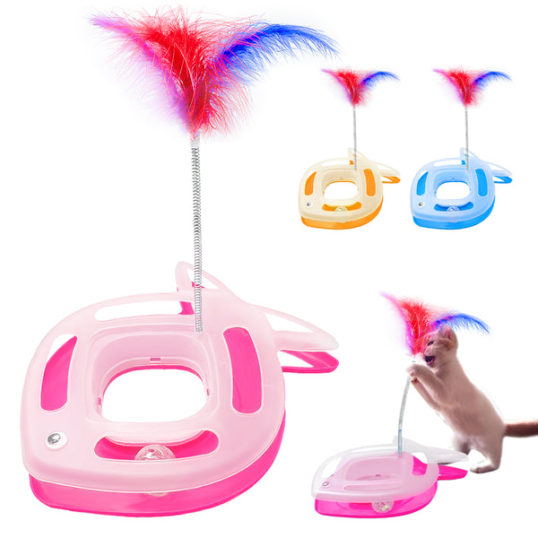 Funny Feather Cat Toys with Balls & Bells for Playing