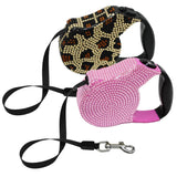 Desined Retractable Dog Leash with Crystal Rhinestones for Small Dogs