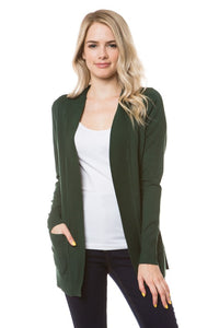 Short Open Cardigan in Olive