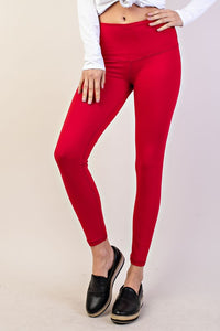 Buttery Soft Full Length Leggings in Red
