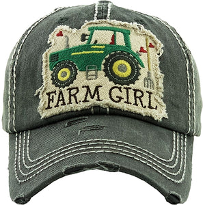 Distressted Farm Girl Hat With Green Tractor- Black