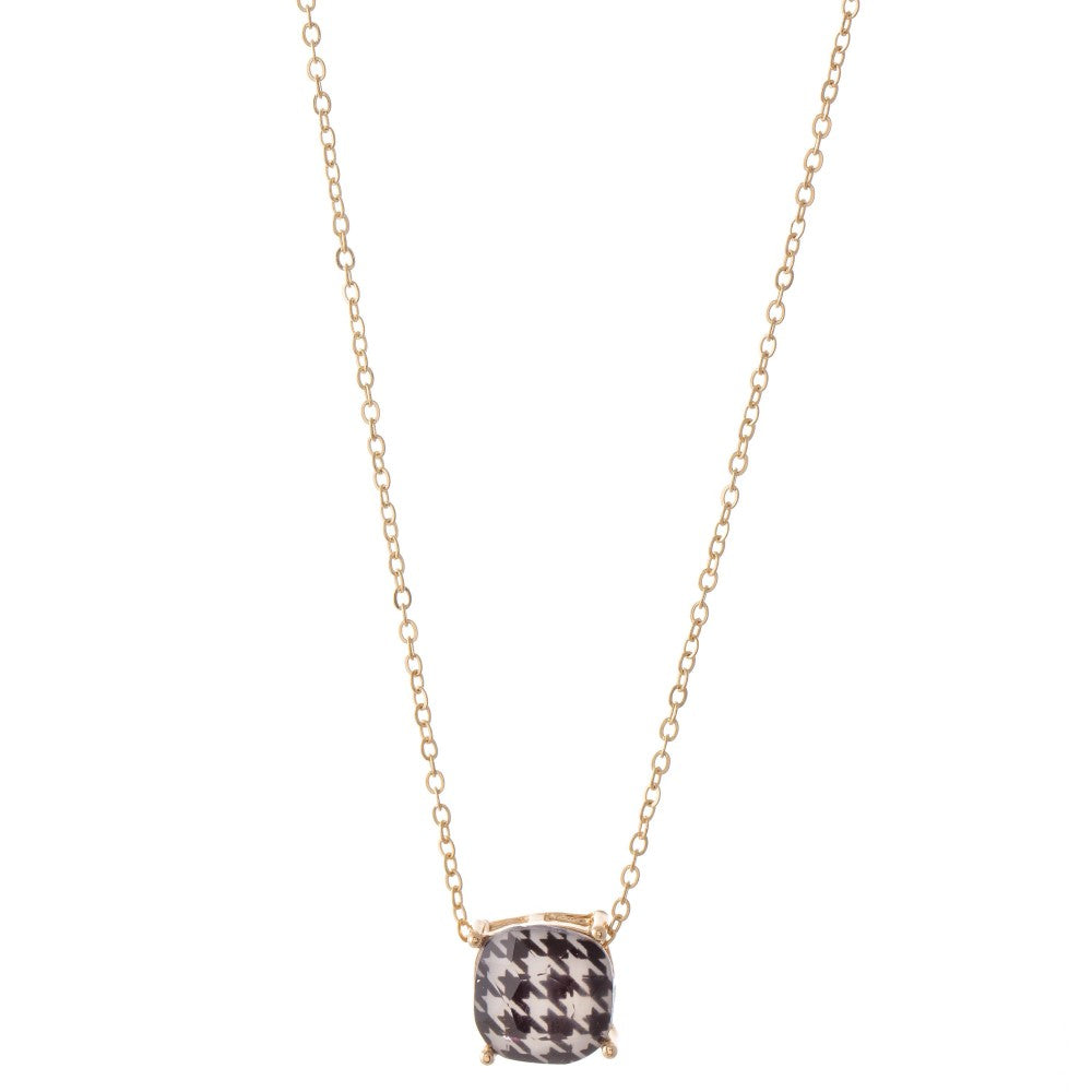 Houndstooth Crystal Pendant Necklace
