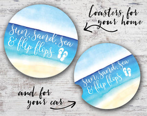 Sun Sand Sea Flip Flops Car Coaster