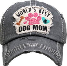Load image into Gallery viewer, World's Best Dog Mom Distressed Hat In Several Colors