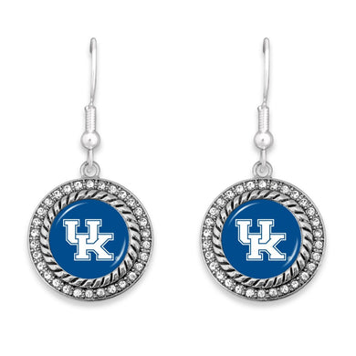 Kentucky Game Day Drop Earrings Featuring Rhinestone Accents