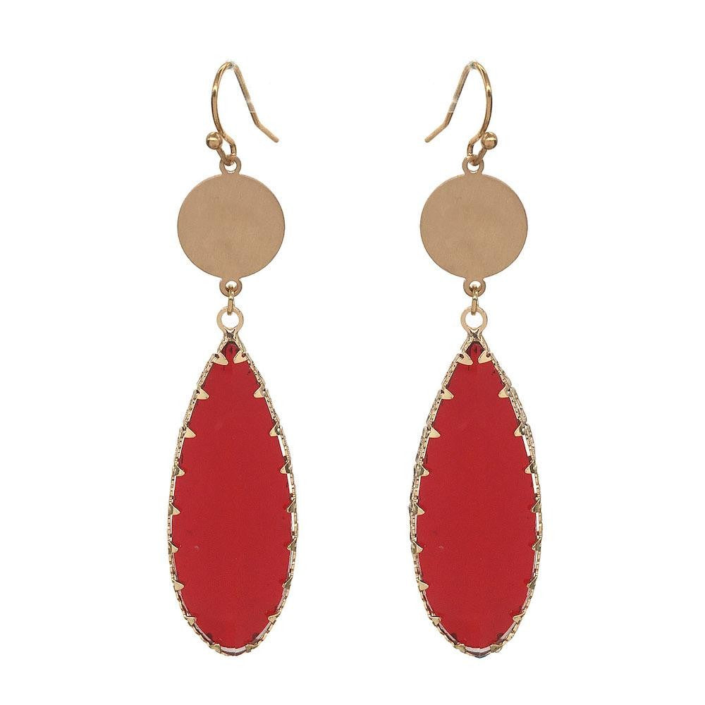 Red Glass Crystal Leaf Drop Earrings in Gold