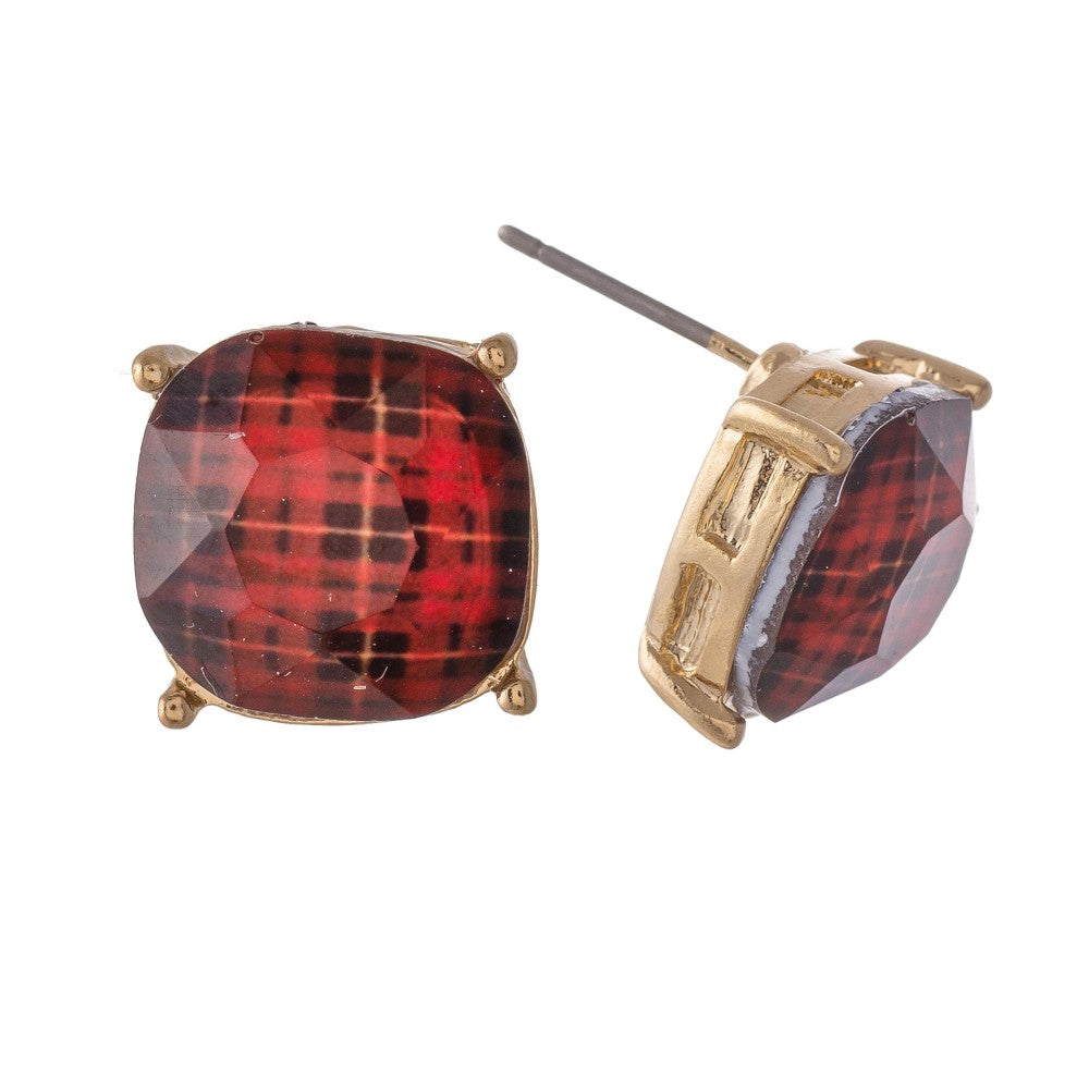 Plaid Crystal Gold Stud Earrings