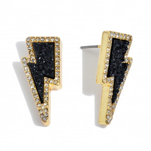 Druzy Lightning Bolt Stud Earrings in Gold and Black Featuring Rhinestone Trim Detail