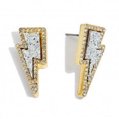 Druzy Lightning Bolt Stud Earrings in Gold Featuring Rhinestone Trim Detail