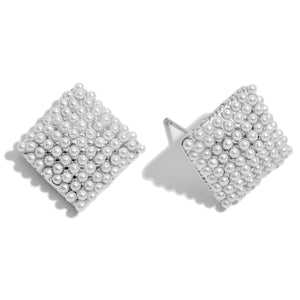Pearl Square Button Stud Earrings