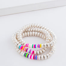 Load image into Gallery viewer, Beaded Stretch Bracelet Set with Multicolor Spacer Bead Details.