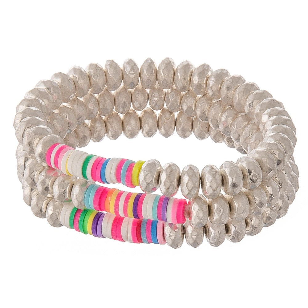 Beaded Stretch Bracelet Set with Multicolor Spacer Bead Details.