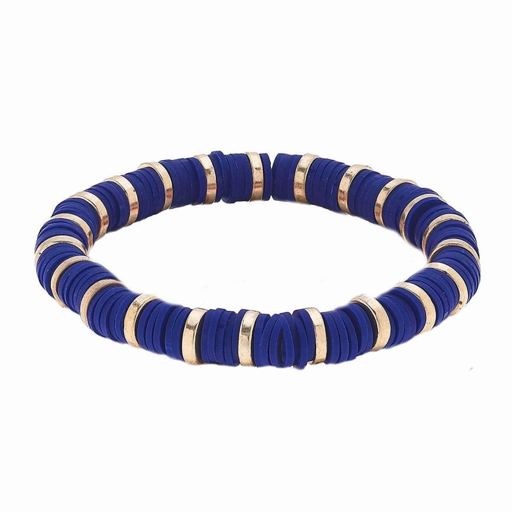 Polymer Clay Spacer Beaded Stretch Bracelet Featuring Worn Gold Plated Beads-Royal Blue