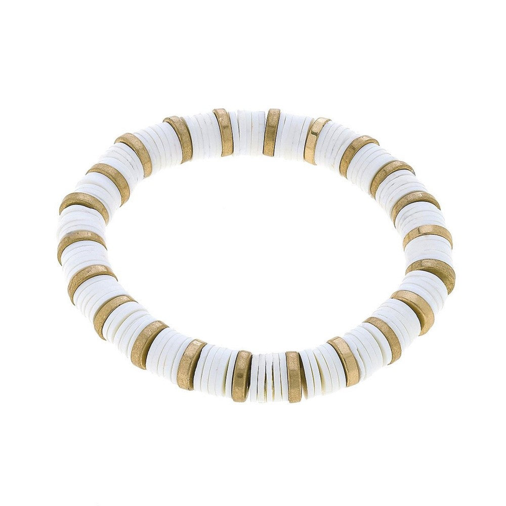 Polymer Clay Spacer Beaded Stretch Bracelet Featuring Worn Gold Plated Beads-White