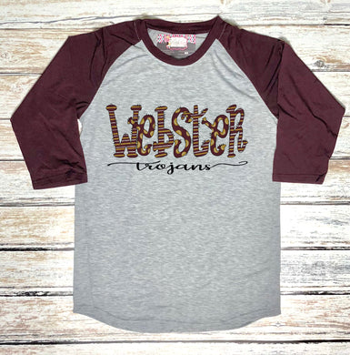 Webster Trojans Hand Drawn Spirit Raglan