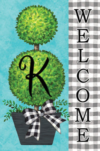 "Gingham Topiary Monogram letter ""K"""