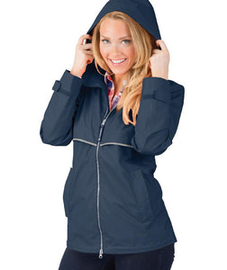 Ladies Charles River Rain Jacket-True Navy