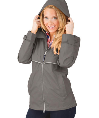 Ladies Charles River Rain Jacket-Grey