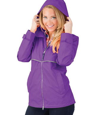 Ladies Charles River Rain Jacket-Violet