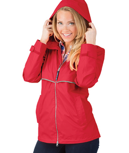Ladies Charles River Rain Jacket-Red