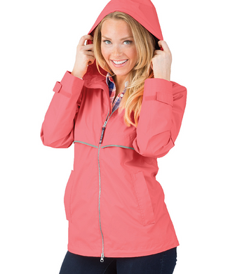 Ladies Charles River Rain Jacket-Coral