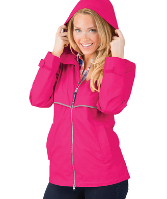 Ladies Charles River Rain Jacket-Hot Pink