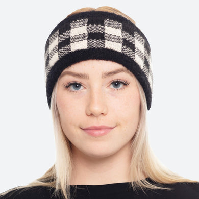 Black And White Super Soft Fuzzy Knit Lined Buffalo Check Ear Warmers