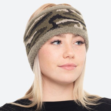Olive Super Soft Fuzzy Knit Lined Camouflage Ear Warmers