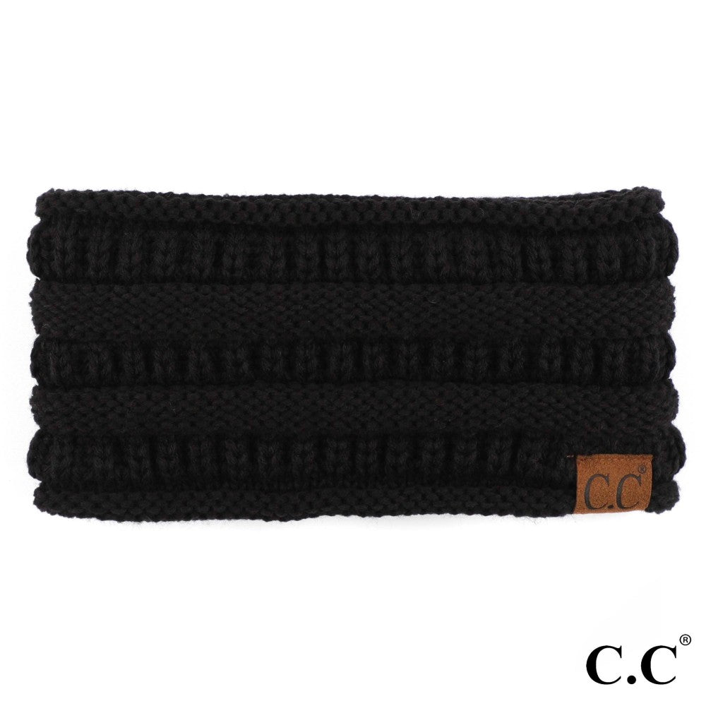 C.C Beanie Black Solid Color Ribbed Knit Ponytail Headband