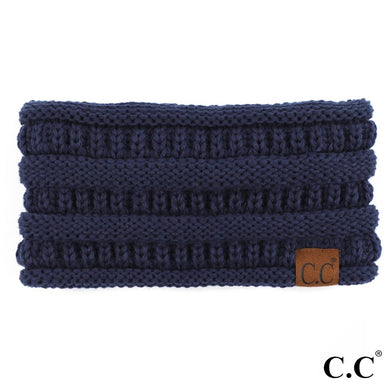 C.C Beanie Navy Solid Color Ribbed Knit Ponytail Headband