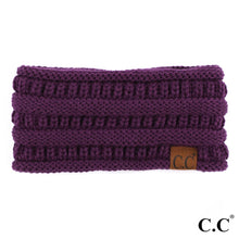 Load image into Gallery viewer, C.C Beanie Purple Solid Color Ribbed Knit Ponytail Headband