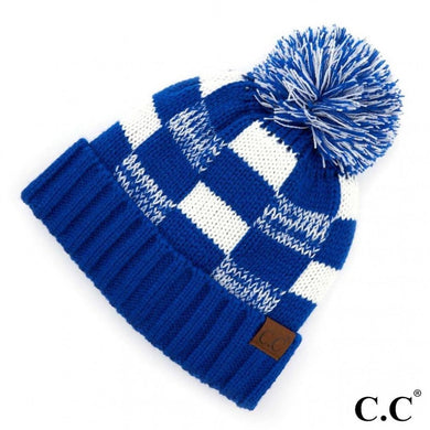 C.C Beanie Royal Blue And White Buffalo check pattern beanie with fuzzy lining and pom