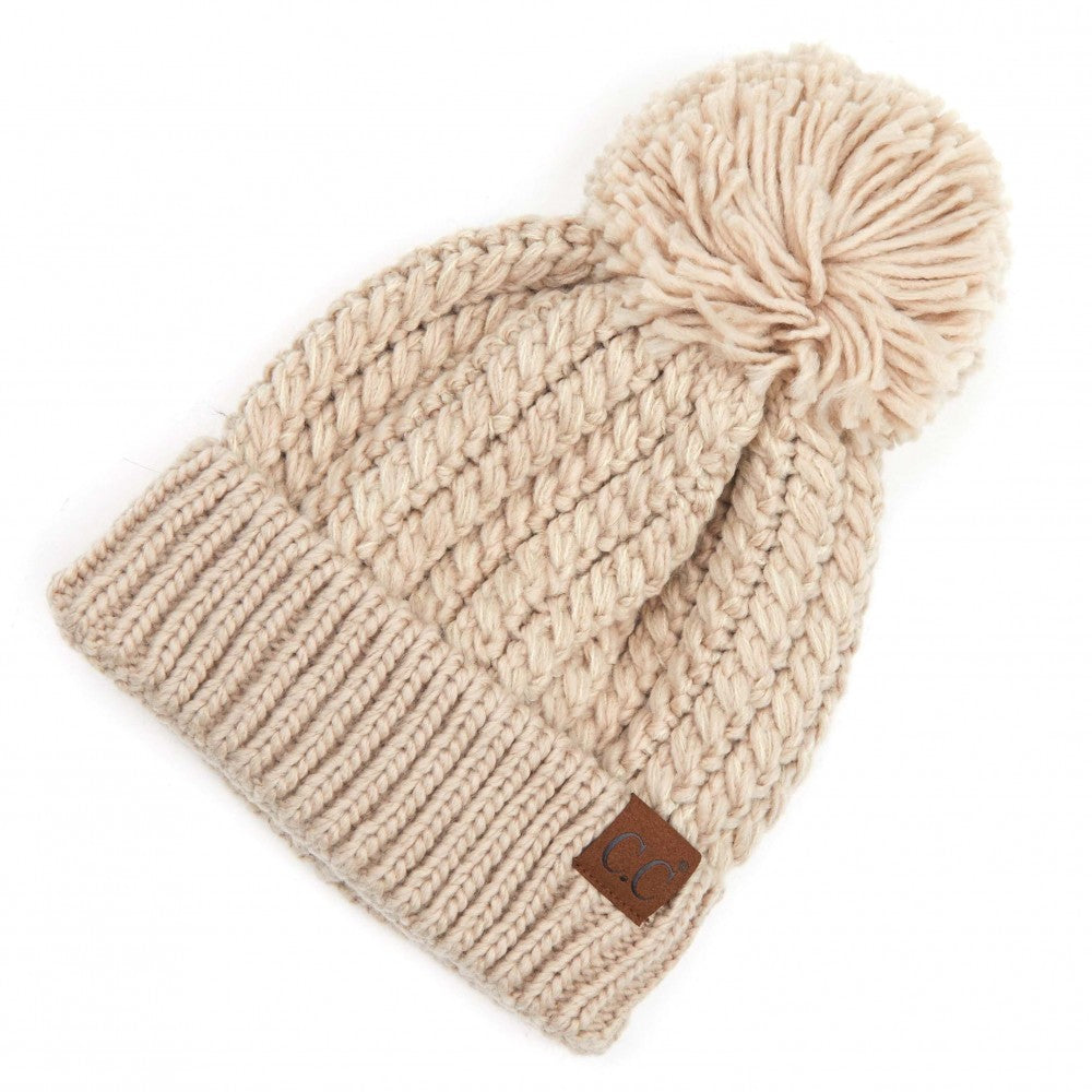 C.C Beanie Beige Twisted Mock Cable Knit Pom Beanie