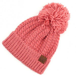 C.C Beanie Dark Rose Twisted Mock Cable Knit Pom Beanie