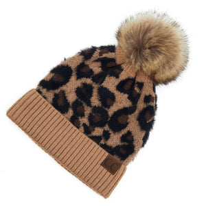 C.C Beanie Latte Animal Print Twisted Mock Cable Knit Pom Beanie