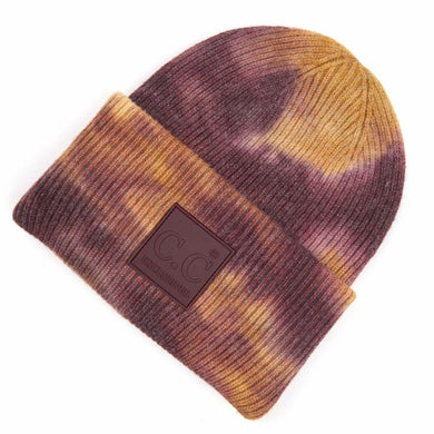 C.C Beanie Moss And Ginger Tie-Dye Knit Beanie with C.C Brand Rubber Patch & Cuff