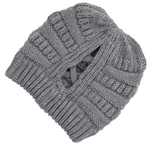 C.C Beanie Grey Ribbed Knit Beanie Featuring Criss-Cross Ponytail Detail