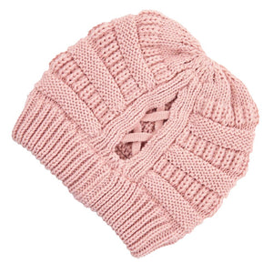 C.C Beanie Pink Ribbed Knit Beanie Featuring Criss-Cross Ponytail Detail