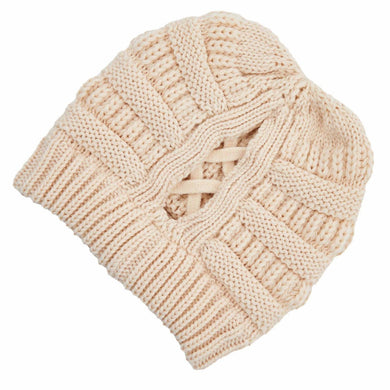C.C Beanie Cream Ribbed Knit Beanie Featuring Criss-Cross Ponytail Detail