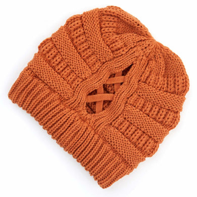 C.C Beanie Toffee Ribbed Knit Beanie Featuring Criss-Cross Ponytail Detail