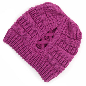 C.C Beanie Magenta Purple Ribbed Knit Beanie Featuring Criss-Cross Ponytail Detail