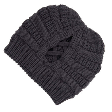 C.C Beanie Dark Grey Ribbed Knit Beanie Featuring Criss-Cross Ponytail Detail